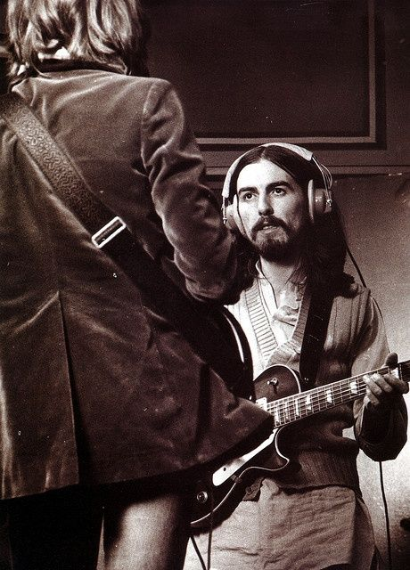 George Harrison with Eric Clapton at Olympic Studios in London, 1969.