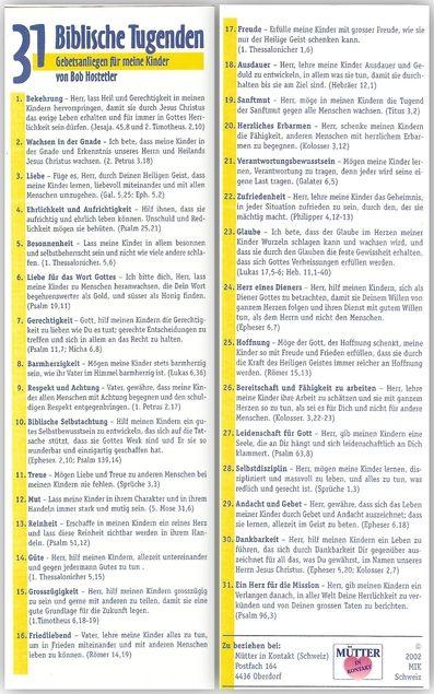 31 Biblische Tugenden [Lesezeichen] : Gebetsanliegen für meine Kinder von Bob Hostettler von Bob Hostettler | LibraryThing