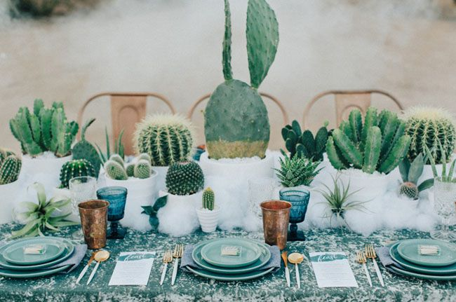 What a creative green wedding centerpiece idea.