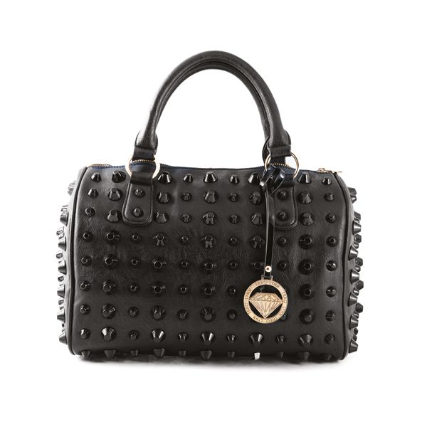 Cute, gorgeous and chic black studded handbag tote with black studs rivets. This bag goes with just about anything. We also have one in white