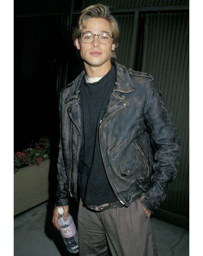 Brad Pitt's 50 Most GQ Moments brad pitt back in the days fashion men tumblr style leather jacket