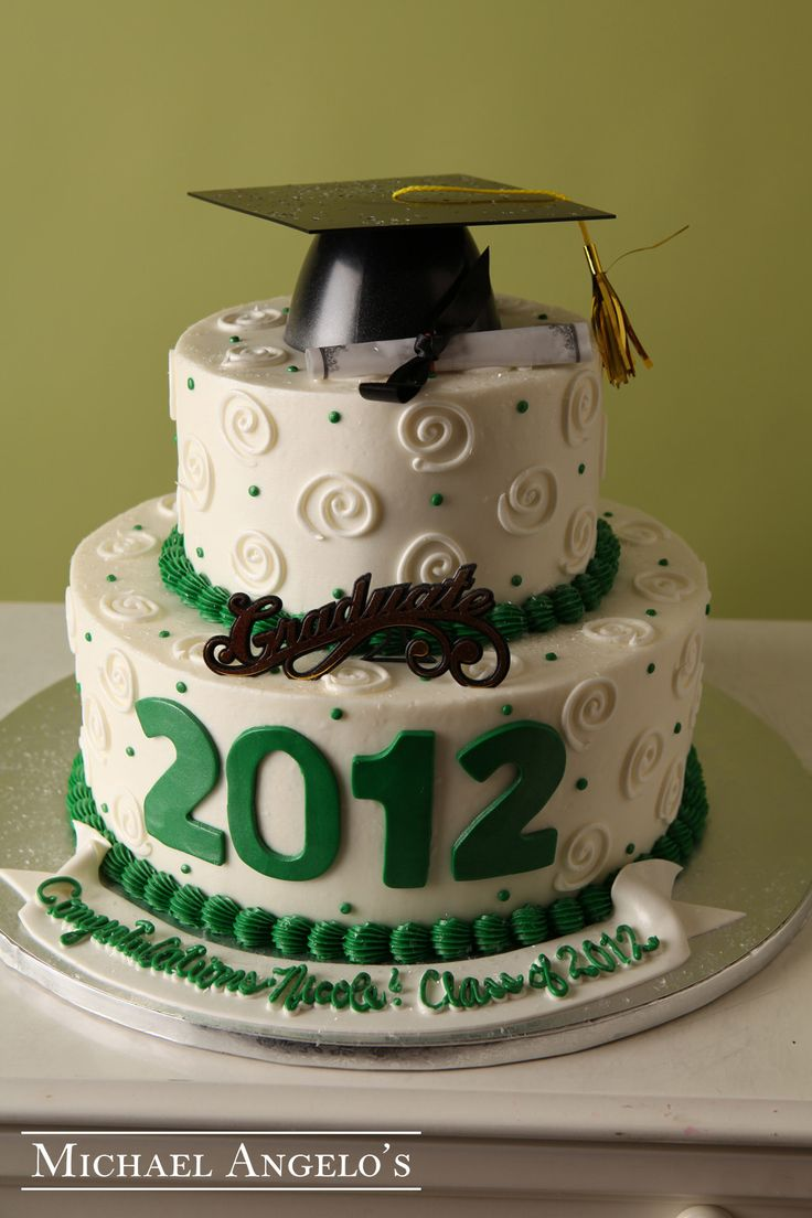 The Graduate #25Graduation  This two-tier round cake is iced in buttercream and decorated with swirls and polka dots. The 2012 cut-out is made from fondant. The graduation kit is a great way to add decor. This cake can be changed to match any school colors.