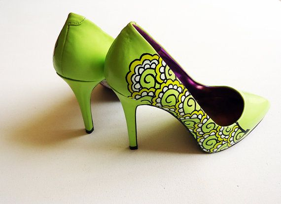 Hand painted heels - Lemon and Lime Twist  green court shoes- UK 6/ US 8.5/ EU 39  - Kezbirdie on Etsy, $104.76