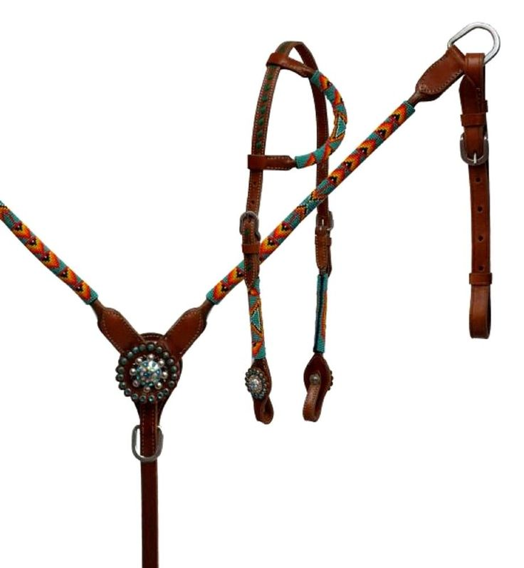 Leather Western Bridle & Breast Collar Set Turquoise Color Beaded Wrap  | eBay
