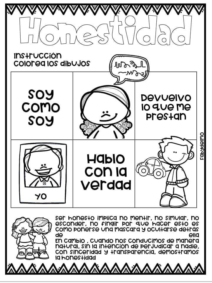 Tareitas Julio 2019 Honestidad Para Ninos Educacion De Valores Educacion Emocional Infantil