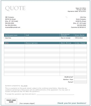 free construction quote template Free Contractor Estimate Form | Blank .