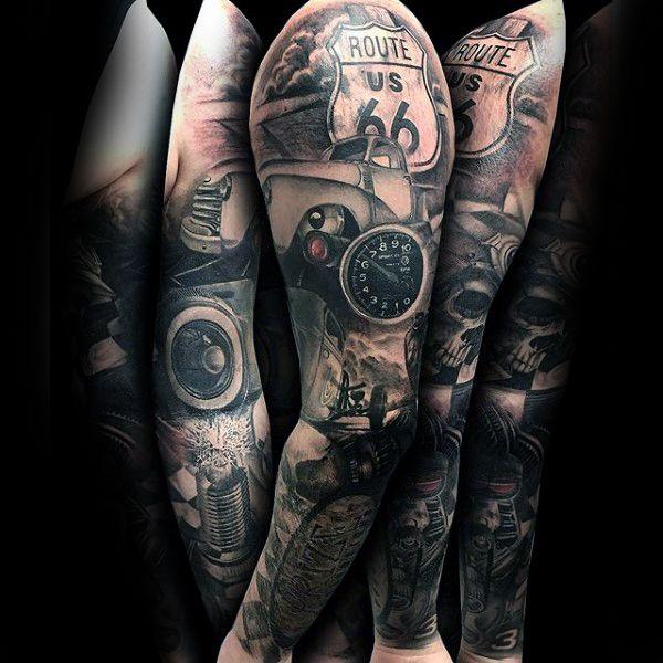 hot rod tattoo sleeve black white - Google zoeken