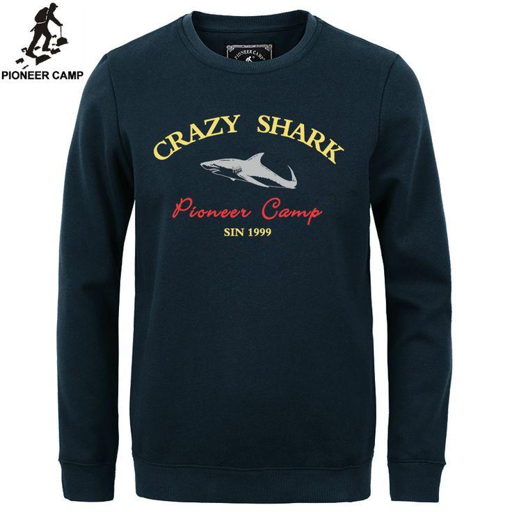 Pioneer Camp 2016 fashion fleece thicken hoodies men warm 100%cotton brand clothing casual male hoody shark men sweatshirt  XXXL