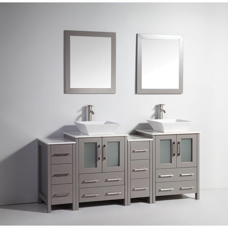 Vanity Art 72 Inch Double Sink Bathroom Vanity Set With Ceramic Top (Grey)