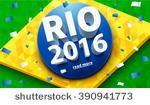 Rio 2016 - Olympic rings and Brazilian flags - Free Vector