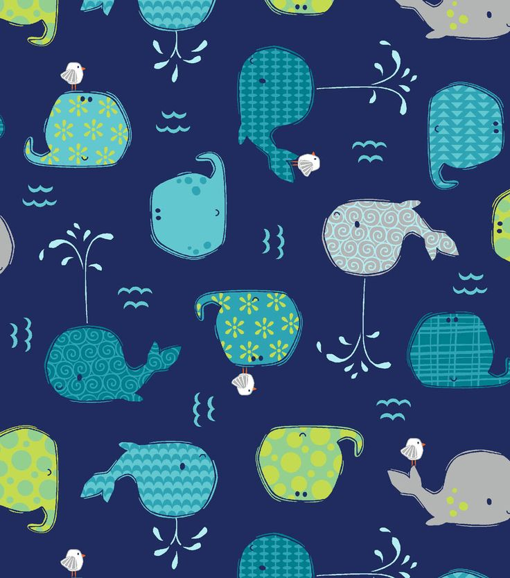 Novelty cotton fabric happy whales blue baby projects for Whale fabric