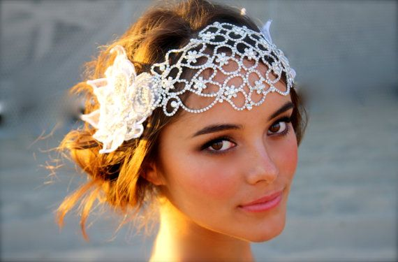 Juliet Cap Bridal Head Dress by DolorisPetunia on Etsy, $600.00