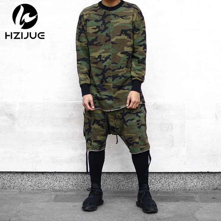 Long sleeve quality fashion men top tee tshirt t-shirt t shirt kanye camo camouflage hip hop swag skate brand-clothing tyga