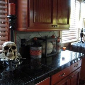 simple yet scary halloween kitchen from getitcutcom - Halloween Kitchen Decor