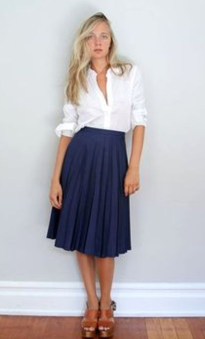navy full skirt, white cotton blouse