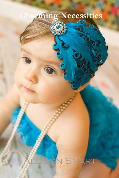 This is simply tooooooo sweet! Old Hollywood Feather Headband Turquoise and Chocolate