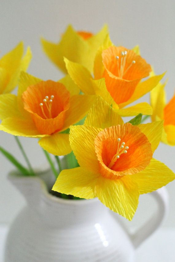 Daffodilhandmade paper flowers for table by adornflowers on Etsy, $22.00