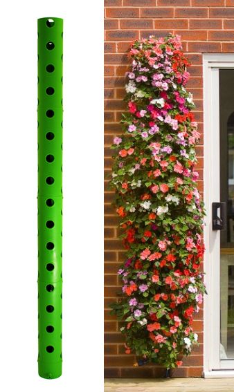 The Polanter is a vertical modular planting system with an integral watering facility. Its modular design feature is easy to assemble and can be built into a variety of lengths to suit your personal requirements. By the use of 12 carefully positioned holes, its unique design al