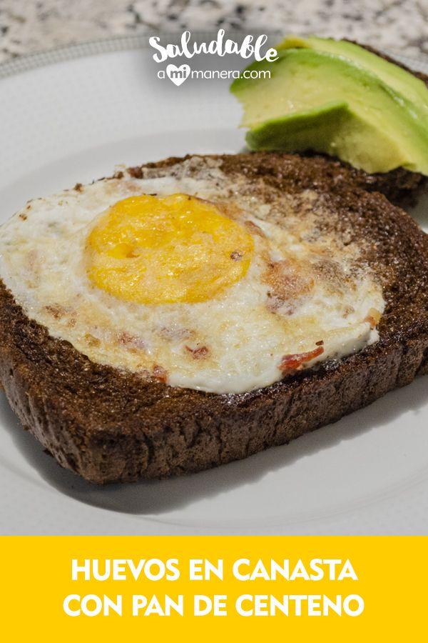 Los huevos en canasta se preparan muy rápido, son un almuerzo que te dejará satisfecho por su contenido de proteínas y carbohidratos. Avocado Egg, Eggs, Snacks, Breakfast, Food, Rye Bread, Healthy Breakfasts, Baskets, Lunches