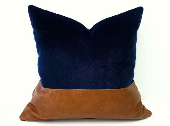 Color Block Navy Blue Faux Fur on Brown Leather Pillow Cover - 20X20""