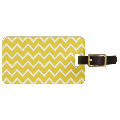 Lemon Yellow Zig Zag Chevron Bag Tag #chevron #pattern #accessories