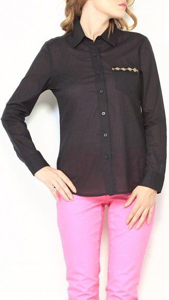 Full sleeve fitted shirt with embellished pocket detail. Composition: Cotton. Color: Black #sbuys #fallwinter2013 #fw13 #shirt #embellished Shop now at www.sbuys.in