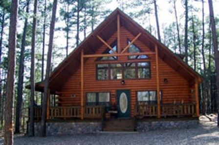 Black Bear Cabin is a large two story, three bedroom cabin located near Beavers Bend State Park and Broken Bow Lake in Oklahoma.