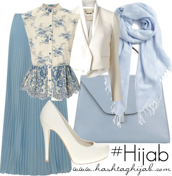 Long skirt blue, white and blue blouse, white blazer, with blue shawl | Cool Hijab Outfit