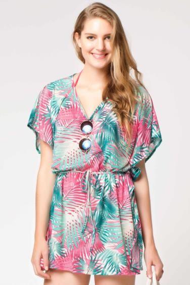 Fuşya Kadın Desenli Şifon Plaj Bluzu 325983 | DeFacto