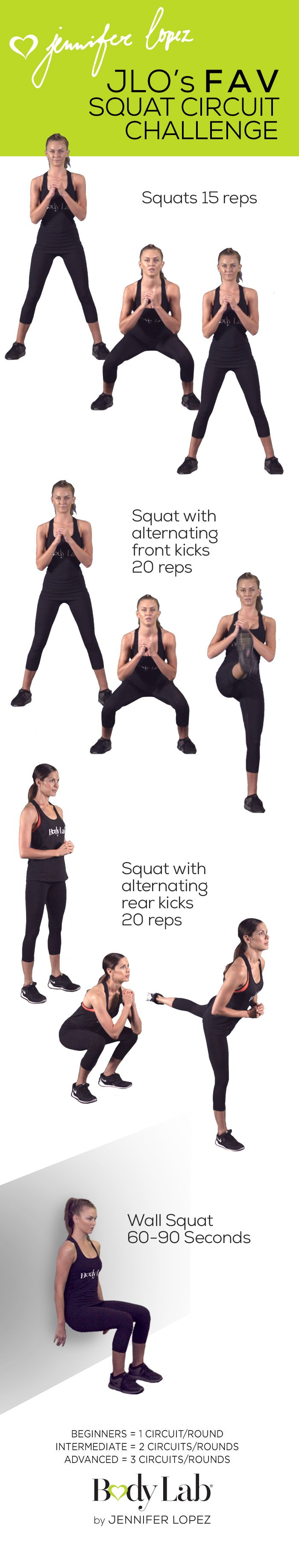 We know you want in on Jennifer Lopez's favorite workouts. Check out her favorite Squat Circuit Challenge! #‎BeTheGirl‬