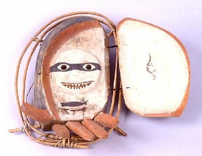 OBJECT # 1.2E637 OBJECT NAME Mask CULTURE OF ORIGIN Yup'ik, Kuskokwim Area MATERIALS Wood, Carved, Baleen, Painted, Black, White, Ochre DIMENSIONS L: 35.0 cm, W: 17.5 cm SOURCE Mr. Bob Gierke CREDIT Gift of Robert Gierke