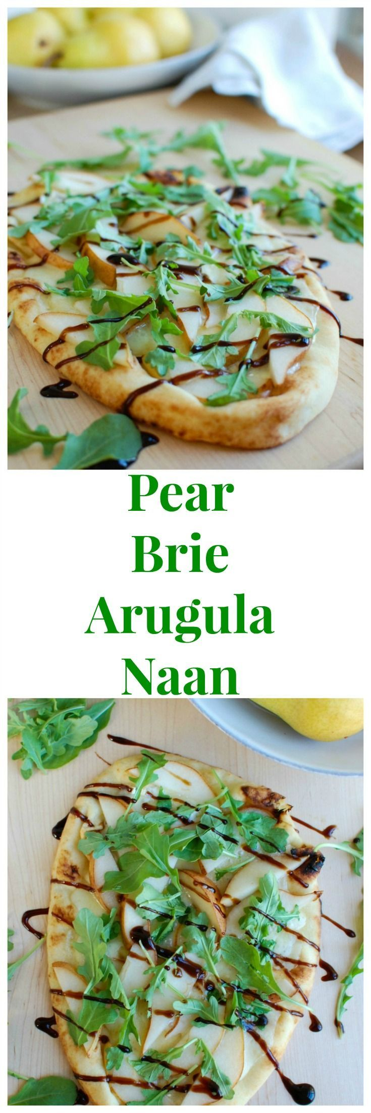 Warm Pear Brie Arugula Naan is the perfect holiday appetizer that will impress your guests. This beautiful flatbread is warmed in the oven with brie cheese and pear and then topped with arugula and a drizzle of balsamic glaze.   // A Cedar Spoon