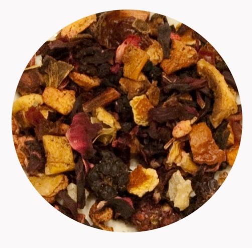"""Infusión Depurativa"" Mezcla de trozos de manzana, escaramujo, frambuesas, moras, fresas, hibisco, bayas, papaya, naranja, arándanos, pasas de corinto y maracuya. 6€ / 100gr."