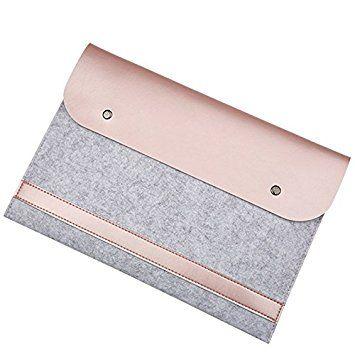 EooCoo Funda de fieltro para portátil de 13 pulgadas, Funda de Cuero de Microfibra para portatil MacBook de 13.3 pulgadas MacBook Air / Pro Retina, Oro Rosa