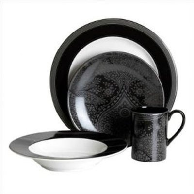 mikasa nautica sloane 16 piece white black dinnerware set service for 4 new on ebay. Black Bedroom Furniture Sets. Home Design Ideas