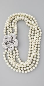 Kenneth Jay Lane's Pearl & Crystal Necklace @shopbophq
