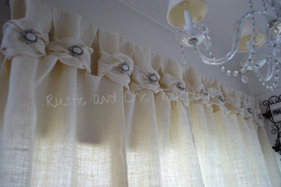 Burlap wide ruched tabs curtain silver by RusticChicTogether, $65.00