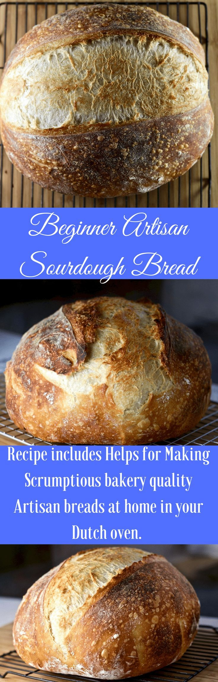 Beginner Artisan Sourdough Bread Recipe has a long tutorial full of tips to help new bakers with the process of baking Artisan sourdough breads with the Long rise, stretch and fold method. Follow this recipe for consistent loaves of fantastic bread your family will love! #sourdough #baking #breadbaking #artisanbread #tutorial