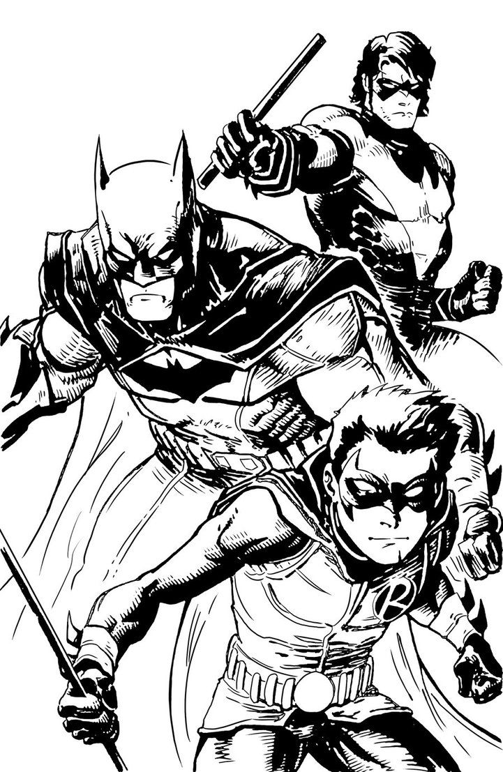Printable coloring pages robin - Batman Nightwing And Robin Coloring Pages Dark Knight Heroes Gotham Detective Comics Dc