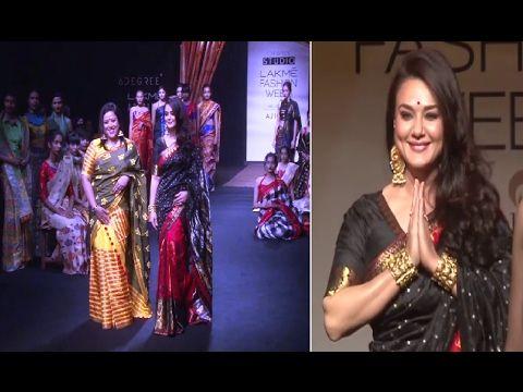 Preity Zinta walks the ramp in saree at Lakme Fashion Week 2017 | Day 2