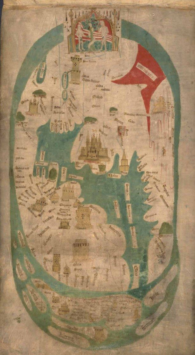 EVESHAM WORLD MAP, c1400 Created for the prior of Evesham Abbey, this map marks the birth of modern English patriotism. The top is a world map in the traditional medieval sense, with the Garden of Eden, the Tower of Babel below and a large multi-towered Jerusalem. But at the bottom an enormous England stretches from Scandinavia to the Mediterranean. The very large tower above the French coast is Calais, captured in 1347. We are in the age of Henry V and Agincourt.