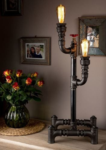 Creative Steampunk Pipe Design Home Table Lamp With Radiant Light Vintage  Lighting Desk Lamp For Any