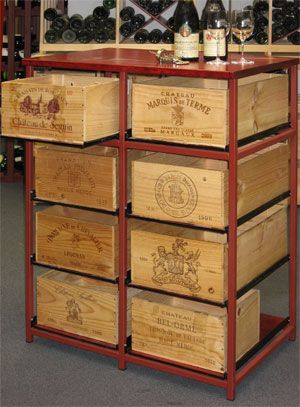 Wine crates recycled as a chest of drawers, would make great containers to put unwanted items in for recycling