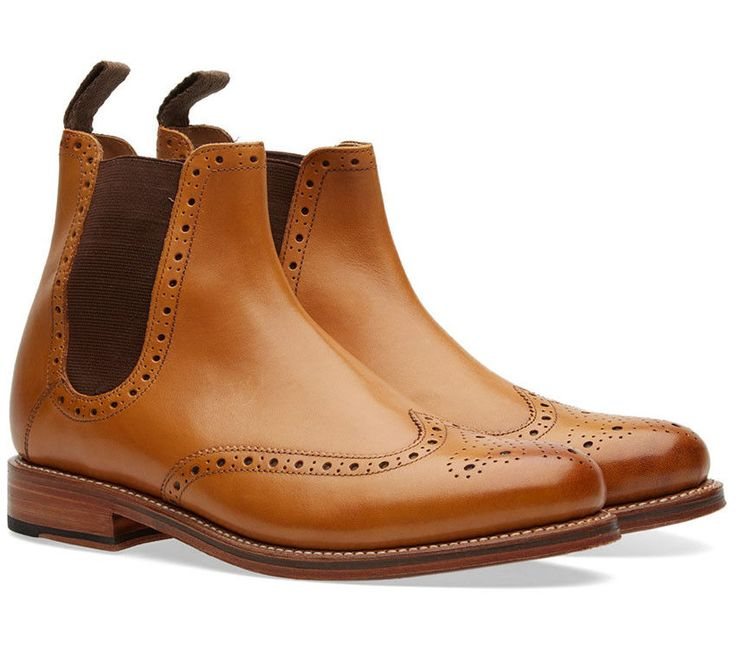 Handmade Tan Chelsea Leather Ankle Boots, Lace up Casual Brogue Boot For Men's #Handmade #AnkleBoots
