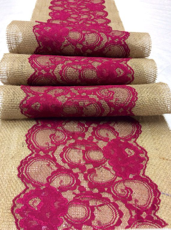 5ft10ft Burlap Lace Table Runner with by LovelyLaceDesigns on Etsy