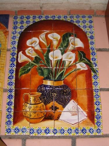 Mexican Tile And Stone Company Tile Mural Design Flowers