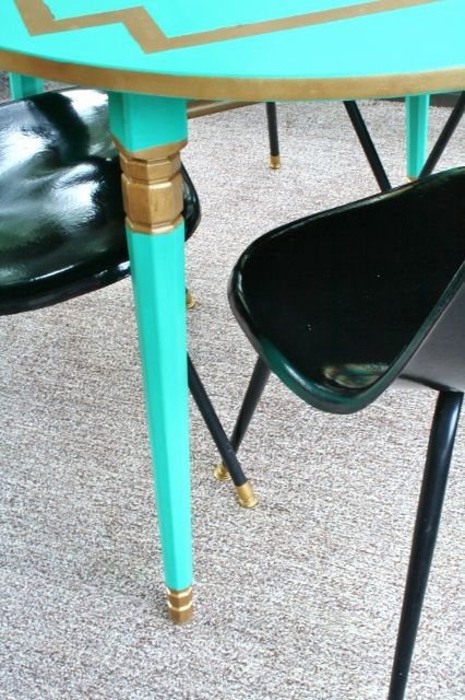 Painting a Laminate Dining Table Emerald and Gold - Rappsody in Rooms