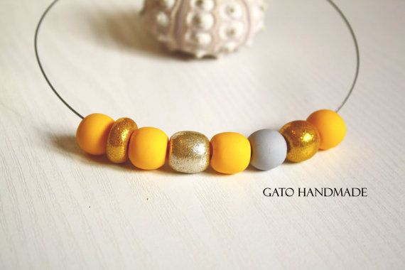 Unique design handmade necklace/Amazing yellow by GATODesign