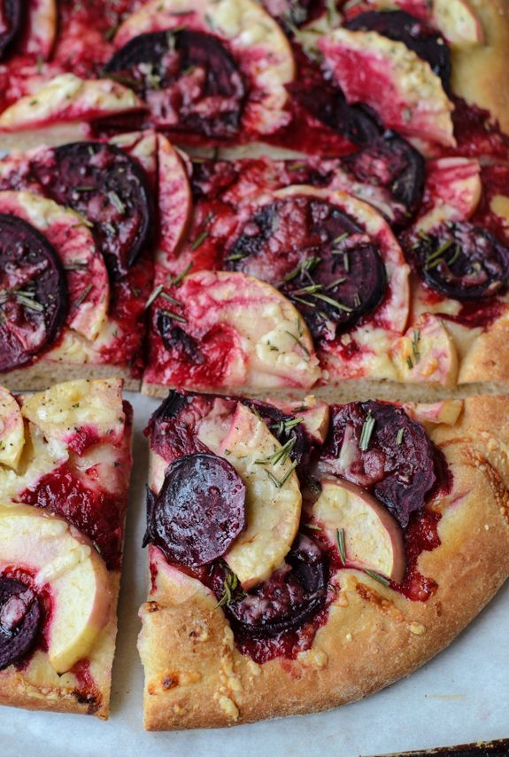 Thinly sliced beets, apples, and sharp cheddar cheese create a sweet and savory homemade pizza that's beautiful, healthy, and delicious.
