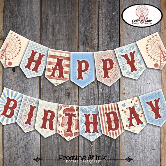 County Fair Bunting Banner - Fair Banner - County Fair Birthday Party - Printable (Country Fair, Carnival, Farm, Ferris Wheel, BBQ, Vintage)
